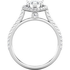 Pear Shaped Halo Engagement Ring with Diamonds