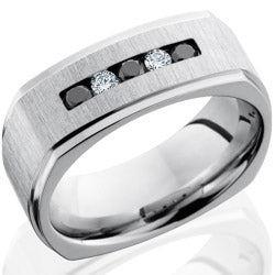 Style 103752: Cobalt Chrome 8mm Flat, Square Band with Channel Set White and Black Diamonds