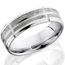 Style 103665: Cobalt Chrome 7mm beveled band with meteorite 5 segments, 1mm groove center