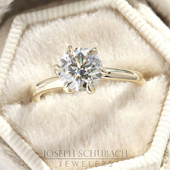 Style 103390: Rosebud Solitaire Engagement Ring with Diamond Petals and a Surprise Diamond Accent