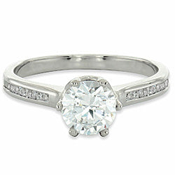 Style 102262: Round Six Prong Engagement Ring With Channel Set Diamonds
