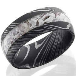 Style 103840: Damascus Steel 9mm domed band with 4mm King's Snow Camo
