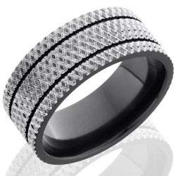 Style 103940: Zirconium 9mm Flat Band with two .5mm Grooves and Knurl Pattern