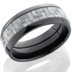 Style 103944: Zirconium 8mm domed band with 4mm Silver Carbon Fiber inlay