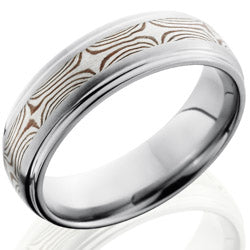 Style 103527: Titanium 7mm Domed Band with Grooved Edges and SS and Shakudo Mokume