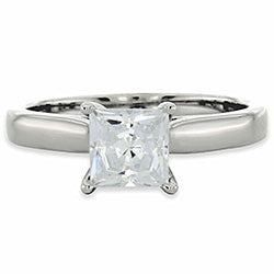 Style 102273: Princess Cut Cathedral Solitaire Engagement Ring With Diamond Accents