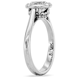 Style 102781: Round Bezel Set Cathedral Engagement Ring With A Custom Fluer-de-Lis Head