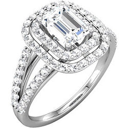 Style 102231: Split Shank Double Halo Engagement Ring With Diamonds