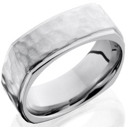 Style 103750: Cobalt Chrome 8mm Flat, Square Band with Grooved Edges