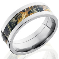 Style 103623: Titanium 8mm Flat Band with 4mm of Realtree AP Camo