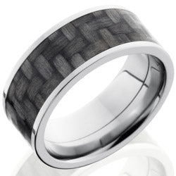Style 103608: Titanium 9mm Flat Band with 7mm of Carbon Fiber