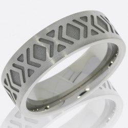 Style 103788: Cobalt Chrome 9mm Flat Band with Cross Pattern
