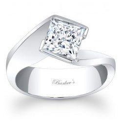 Style 102723: Barkev's Vintage Bypass Princess Cut Solitaire Engagement Ring With A Modern Twist