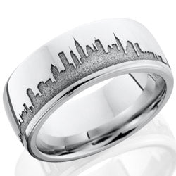 Style 103711: Cobalt Chrome 8mm domed band with laser carved skyline
