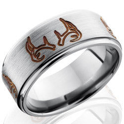 Style 103587: Titanium 9mm Flat Band with Grooved Edges and Antler Pattern