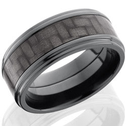 Style 103947: Zirconium 9mm Flat Band with 5mm of Carbon Fiber and Grooved Edges