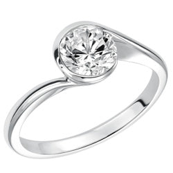 Style 102990: Bezel Set Bypass Design Round Solitaire Engagement Ring