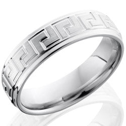 Style 103658: Cobalt Chrome 6mm Flat Band with Grooved Edges