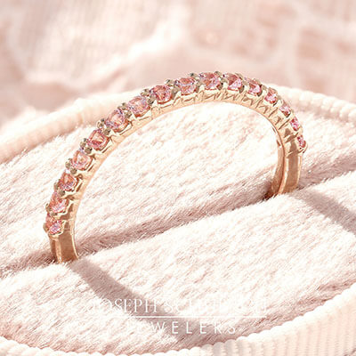 Style 104602: Shared Prong Anniversary Band with Pink Sapphires