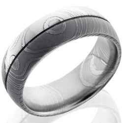 Style 103988: Damascus Steel 8mm Domed Band with .5mm Groove