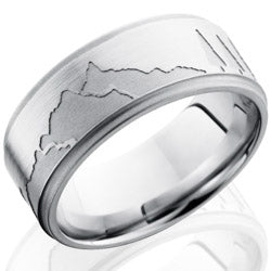 Style 103786: Cobalt Chrome 9mm Flat Band with Grooved Edges and Mountain Pattern