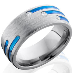 Style 103557: Titanium 8mm Domed Band with Blue Anodized Stripes and Flush Set White Round Diamonds