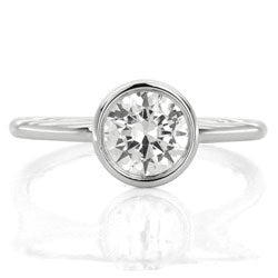 Style 10366-6.5mm: Delicate Round Bezel Set Engagement Ring