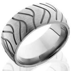 Style 103504: Titanium 10mm Domed Band with Tire Tread Pattern