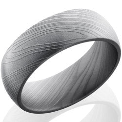 Style 103815: Damascus Steel 8mm Domed Band