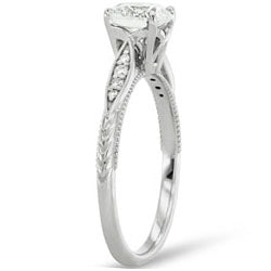 Style 103202: Vintage Style Engraved Engagement Ring With Side Diamonds
