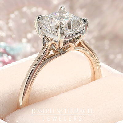 Style 104600: Scroll Solitaire for a cushion cut center stone