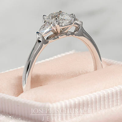 Style 103378: Old Mine Cut and Antique Pear Lab Grown Diamond Three Stone Ring