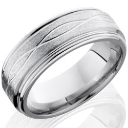Style 103769: Cobalt Chrome 8mm Flat Band with Rounded Edges and Infinity Pattern