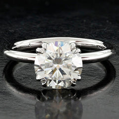 Style 102777: Round Ballerina Solitaire Engagement Ring With Double Claw Prongs