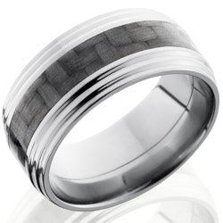 Style 103592: Titanium 10mm Flat Band with 4mm of Carbon Fiber and Double Grooved Edge