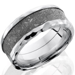 Style 103773: Cobalt Chrome 9mm Beveled Band with 5mm Meteorite