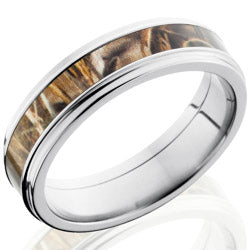 Titanium Flat Band with Realtree Camo Wedding Band - Style 103614