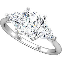 Style 102245: Radiant Shaped Three Stone Ring With Diamond Triangle Side Stones