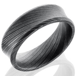 Style 103807: Damascus Steel 7mm Concave Band with Beveled Edges