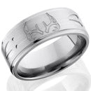 Style 103980: Titanium 9mm flat band with grooved edges with deer antler and tracks pattern