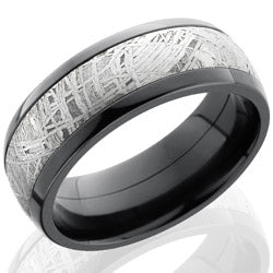 Style 103969: Zirconium 8mm Domed Band with 5mm Meteorite