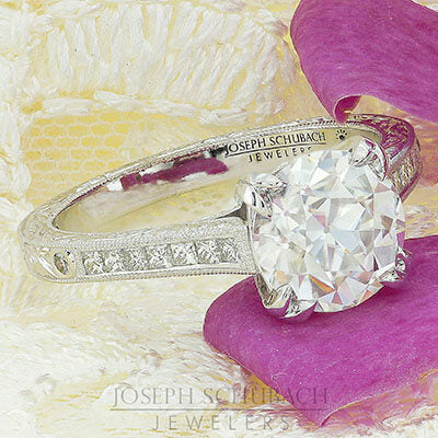 Style 103328: The Ella Bella Engagement Ring With Princess Cut Side Diamonds And Hand Engraving