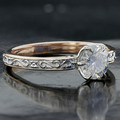 Style 103326: Engraved Engagement Ring With Diamond Accents And Surprise Rose Cut Diamond