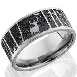 Style 103583: Titanium 9mm flat band with a laser carved elk pattern with mountain background