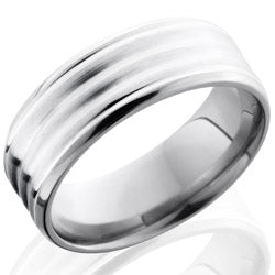 Style 103544: Titanium 8mm Beveled Band with Sterling Silver Inlay