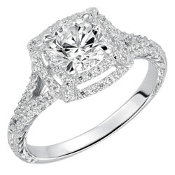 Style 102981-7.5mm: Engraved Split Shank Double Square Halo Engagement Ring With Diamonds