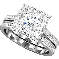 Flower Design Halo Engagement Ring with Diamonds (Top View)
