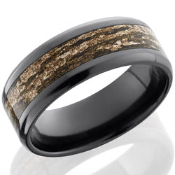 Style 103886: Zirconium 8mm beveled band with 4mm Mossy Oak Bottom Land pattern