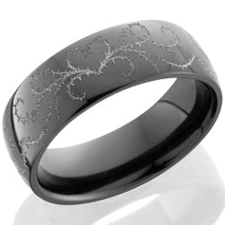 Style 103874: Zirconium 7mm domed band with laser carved Thorn Heart pattern