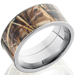 Style 103611: Titanium 10mm Flat Band with 9mm of Realtree Max4